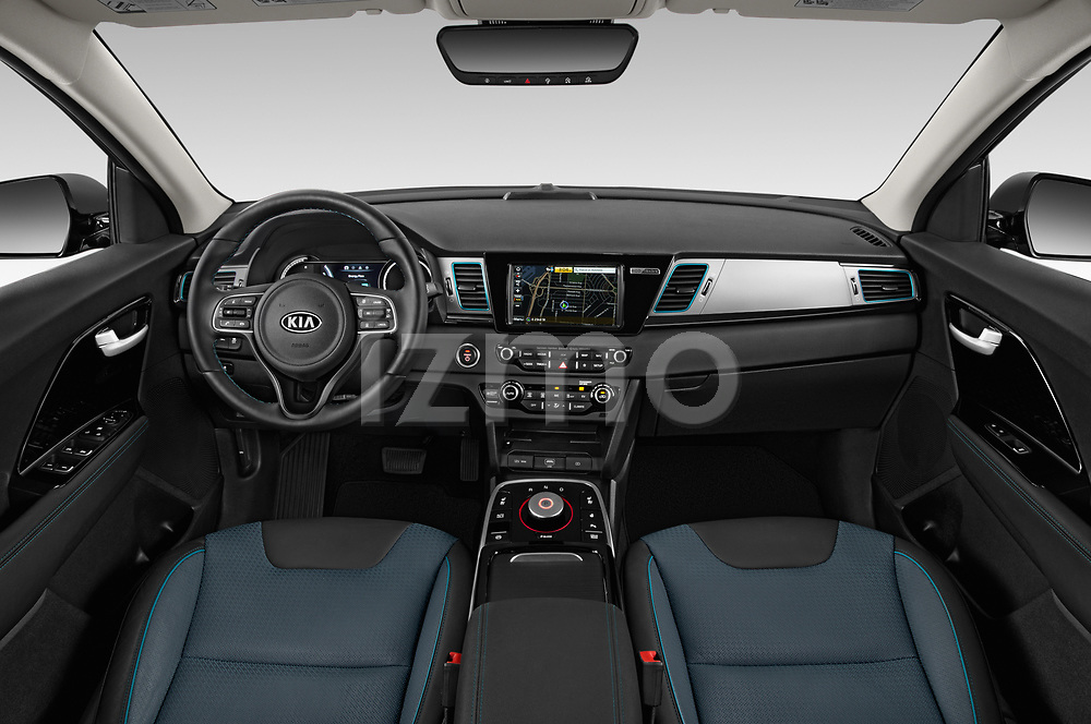 Stock photo of straight dashboard view of a 2019 KIA Niro-EV  EX-Premium 5 Door Hatchback