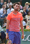 Quentin Halys (FRA) loses to Rafael Nadal (ESP)6-3, 6-3, 6-4 at  Roland Garros being played at Stade Roland Garros in Paris, France on May 26, 2015