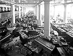 Pittsburgh PA: View of the first floor of the Joseph Horne Company Store after the flood - 1936.  On March 16, 1936, warmer-than-normal temperatures led to the melting of snow and ice on the upper Allegheny and Monongahela rivers. Heavy rains overnight caused the waters to rise quickly and the water peaked at about 46 feet, 21 feet above flood stage.