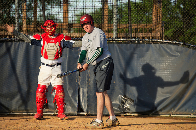 UNITED STATES - MAY 14: Rep. Pat Meehan, R-Pa., batting, and Rodney Davis, R-Ill., attend Republican baseball practice in Alexandria, Va., May 14, 2015. (Photo By Tom Williams/CQ Roll Call)