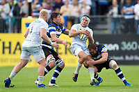 Schalk Brits of Saracens takes on the Bath Rugby defence. Aviva Premiership match, between Bath Rugby and Saracens on September 9, 2017 at the Recreation Ground in Bath, England. Photo by: Patrick Khachfe / Onside Images