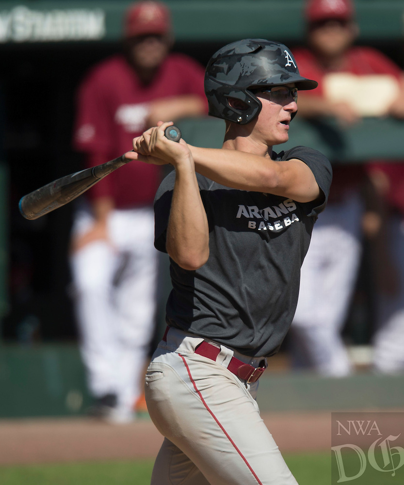 HAWGS ILLUSTRATED JASON IVESTER<br /> Arkansas Cardinal-Gray baseball Fall World Series on Monday, Oct. 17, 2016, at Baum Stadium in Fayetteville.