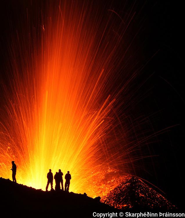 exploring the erupting volcano in Fimmvörðuháls, south Iceland