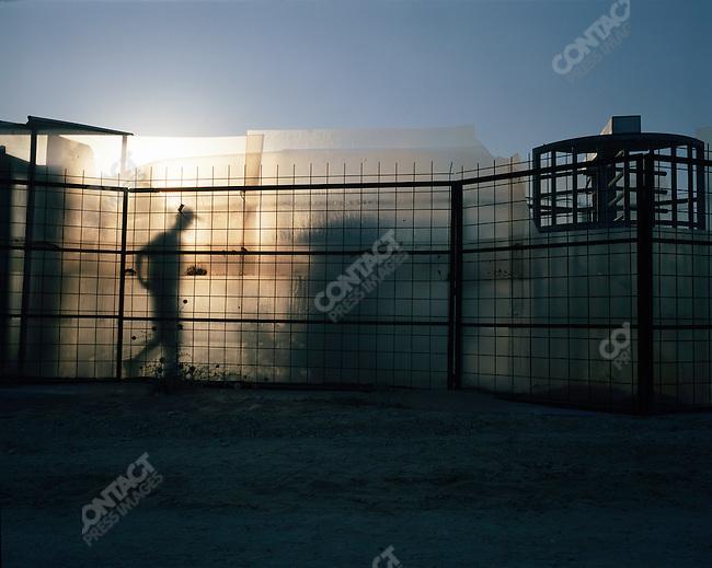 Israeli checkpoint beside the Neve Dekalim settlement, in Gush Katif, Gaza, July 2005.