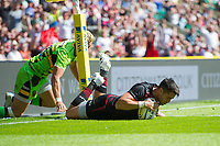 Sean Maitland of Saracens scores his second try of the match. Aviva Premiership match, between Saracens and Northampton Saints on September 2, 2017 at Twickenham Stadium in London, England. Photo by: Patrick Khachfe / JMP