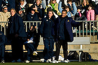 Notre Dame Fighting Irish head coach Randy Waldrum and assistant coach Dawn Greathouse. The North Carolina Tar Heels defeated the Notre Dame Fighting Irish 2-1 during the finals of the NCAA Women's College Cup at Wakemed Soccer Park in Cary, NC, on December 7, 2008. Photo by Howard C. Smith/isiphotos.com