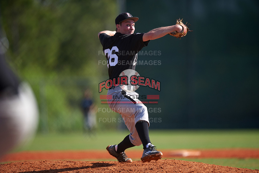 Edgewood Eagles pitcher Adam Eck (26) during the first game of a doubleheader against the Plymouth State Panthers on April 17, 2016 at Lee County Player Development Complex in Fort Myers, Florida.  Plymouth State defeated Edgewood 6-5.  (Mike Janes/Four Seam Images)
