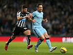 Mehdi Abeid of Newcastle United challenges Frank Lampard of Manchester City - Barclays Premier League - Manchester City vs Newcastle Utd - Etihad Stadium - Manchester - England - 21st February 2015 - Picture Simon Bellis/Sportimage