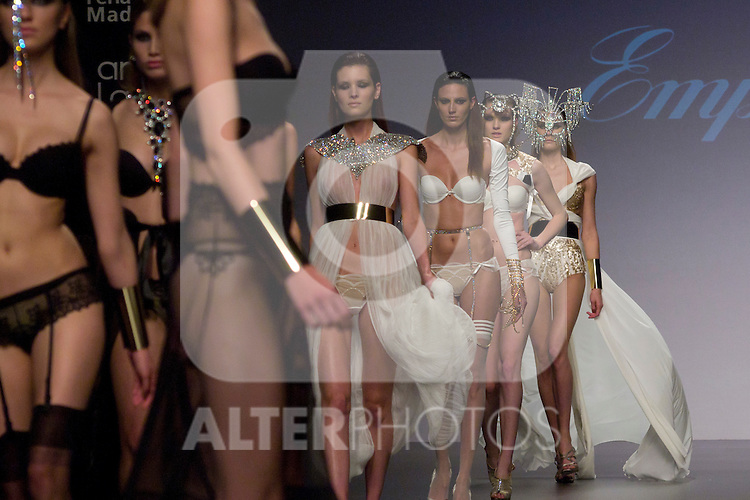 04.05.2012. A model presents Lingerie designs of Emperatriz at the Cibeles Madrid Novias in Ifema (Alterphotos/Marta Gonzalez)