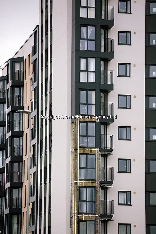 Pictured: The exposed insulation after cladding panels were removed at Kennedy Gardens in Billingham. Tuesday 27 June 2017<br /> Re: Cladding is being removed by workers from the fascia of high-rise flats at Kennedy Gardens in Billingham, County Durham, England, UK