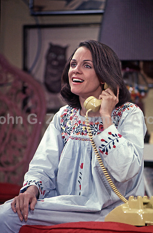 Valerie Harper rehearses scene during first season of Rhoda, CBS Studios, Los Angeles, 1974.