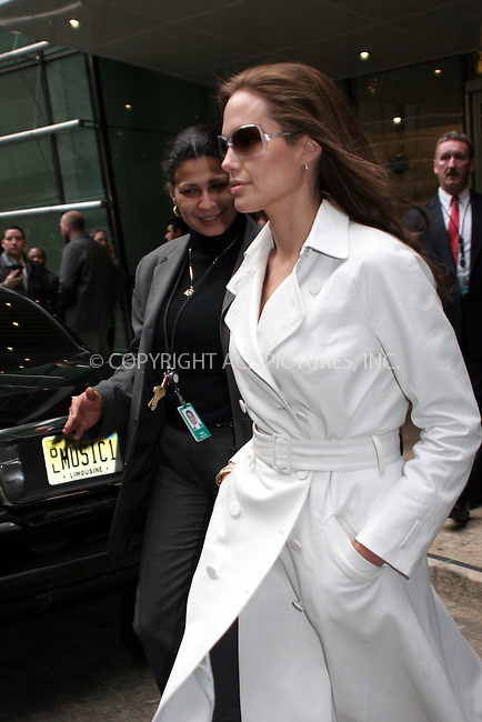 WWW.ACEPIXS.COM . . . . . ....December 11, 2006, New York City. ....Angelina Jolie Exits Studios.  ....Please byline: NANCY RIVERA- ACE PICTURES.... *** ***..Ace Pictures, Inc:  ..Philip Vaughan (212) 243-8787 or (646) 769 0430..e-mail: info@acepixs.com..web: http://www.acepixs.com