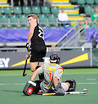 The Hague, Netherlands, June 15: Blair Tarrant #22 of New Zealand looks on during the field hockey placement match (Men - Place 7th/8th) between Spain and the Black Sticks of New Zealand on June 15, 2014 during the World Cup 2014 at Kyocera Stadium in The Hague, Netherlands.  Final score after full time 1-1 (0-1). The Black Sticks of New Zealand win the shoot-out 1-4.  (Photo by Dirk Markgraf / www.265-images.com) *** Local caption *** Blair Tarrant #22 of New Zealand, Quico Cortes (GK) #1 of Spain