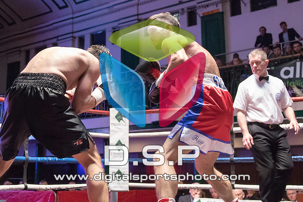 Sam Stokes VS Liam Griffiths - Middleweight Contest. Photo by: Simon Downing.<br /> <br /> Goodwin Boxing: Paddy's Day Punch Up - Saturday 19th March 2016. York Hall, Bethnal Green, London, United Kingdom.