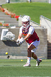 Los Angeles, CA 04/22/16 - Gussie Johns (USC #3) in action during the NCAA Stanford-USC Division 1 women lacrosse game at the Los Angeles Memorial Coliseum.  USC defeated Stanford 10-9/