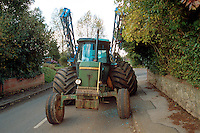 Road traffic accident involving a farm tractor and a speeding car. The tractor mounted the pavement to avoid the on-coming vehicle and broke its rear axle under the weight of the floatation tyres..©shoutpictures.com..john@shoutpictures.com