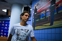 Rafael Nadal of Spain departs after taking part in a news conference at the Arthur ASHE stadium during the US Open 2015 tennis Tournament in New York. 08.29.2015.  Eduardo MunozAlvarez/VIEWpress.
