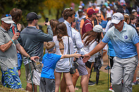 Brian Stuard (USA) high fives a young fan enroute to the tee on 11 during day 3 of the Valero Texas Open, at the TPC San Antonio Oaks Course, San Antonio, Texas, USA. 4/6/2019.<br /> Picture: Golffile | Ken Murray<br /> <br /> <br /> All photo usage must carry mandatory copyright credit (&copy; Golffile | Ken Murray)