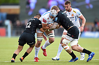 Toby Salmon of Exeter Chiefs takes on the Saracens defence. Gallagher Premiership match, between Saracens and Exeter Chiefs on May 4, 2019 at Allianz Park in London, England. Photo by: Patrick Khachfe / JMP