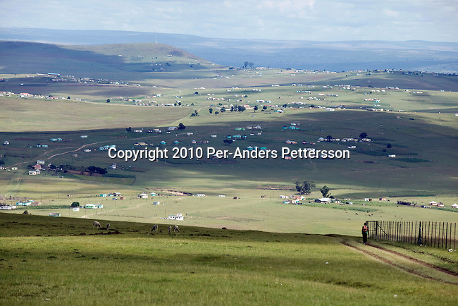 QUNU,SOUTH AFRICA - APRIL1: Anoverview of the village of Qunu, where Nelson Mandela grew upon April1, 2010, in Qunu, South Africa. Mr. Mandela was born in Mvezo, about 32 kilometers from here and Qunu and its surroundings is the area where he learned about life including his traditional manhood ceremony. Mr. Mandela was born in 1918, he served as a president of South Africa from 1994-1999, when he retired. Before that he was the leader of the armed wing of ANC and was convicted of sabotage among other crimes and served 27 years in prison, many of them on Robben Island, outside Cape Town. Qunu has a museum and Mr. Mandela has a big house where he and his family spends time while in the area.(Photo by Per-Anders Pettersson)