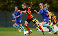 20170914 - TUBIZE ,  BELGIUM : Belgian Tessa Wullaert (left) pictured with Dutch Sisca Folkertsma (r) during the friendly female soccer game between the Belgian Red Flames and European Champion The Netherlands , a friendly game in the preparation for the World Championship qualification round for France 2019, Thurssday 14 th September 2017 at Euro 2000 Center in Tubize , Belgium. PHOTO SPORTPIX.BE | DAVID CATRY