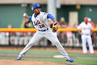 Kingsport Mets starting pitcher Benito Garcia (28) delivers a pitch during a game against the Johnson City Cardinals at TVA Credit Union Ballpark on June 28, 2019 in Johnson City, Tennessee. The Cardinals defeated the Mets 7-4. (Tony Farlow/Four Seam Images)