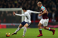 Son Heung-Min of Tottenham scores the opening Spurs goal during Tottenham Hotspur vs West Ham United, Premier League Football at Wembley Stadium on 4th January 2018