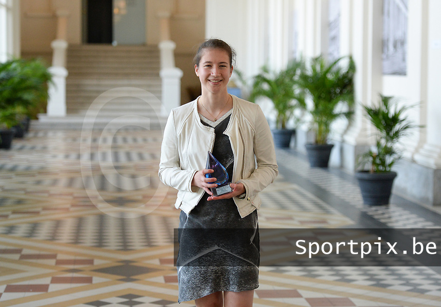 20170604 – OOSTENDE , BELGIUM : Superleague top goalscorer Sanne Schoenmakers pictured during the 3nd edition of the Sparkle award ceremony , Sunday 4 June 2017 , in Oostende . The Sparkle  is an award for the best female soccer player in the Belgian Superleague and 1st division during the season 2016-2017 comparable to the Golden Shoe or Boot / Gouden Schoen / Soulier D'or for Men in Belgium . PHOTO SPORTPIX.BE | DAVID CATRY