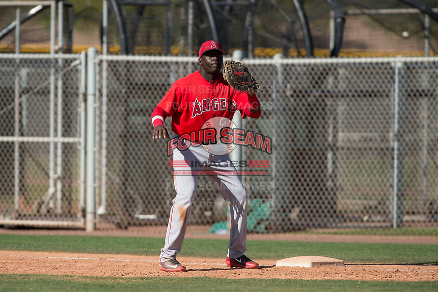 Los Angeles Angels first baseman Cristian Gomez (37) during a Minor League Spring Training game against the Chicago Cubs at Sloan Park on March 20, 2018 in Mesa, Arizona. (Zachary Lucy/Four Seam Images)