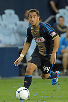 Union midfielder Danny Cruz (44) in action..Sporting Kansas City defeated Philadelphia Union 2-1 at LIVESTRONG Sporting Park, Kansas City, KS.