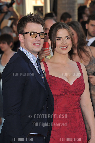 "Hayley Atwell & Chris Evans at the premiere of their new movie ""Captain America: The First Avenger"" at the El Capitan Theatre, Hollywood..July 19, 2011  Los Angeles, CA.Picture: Paul Smith / Featureflash"