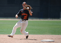 (Photo by John Valenzuela, Freelance)<br /> <br /> #25 Graham Pimm. The Occidental College baseball team defeats Caltech to claim the SCIAC Championships on Sunday, May 1, 2016 at Oxy's Anderson Field.<br /> <br /> (Photo by John Valenzuela, Freelance)