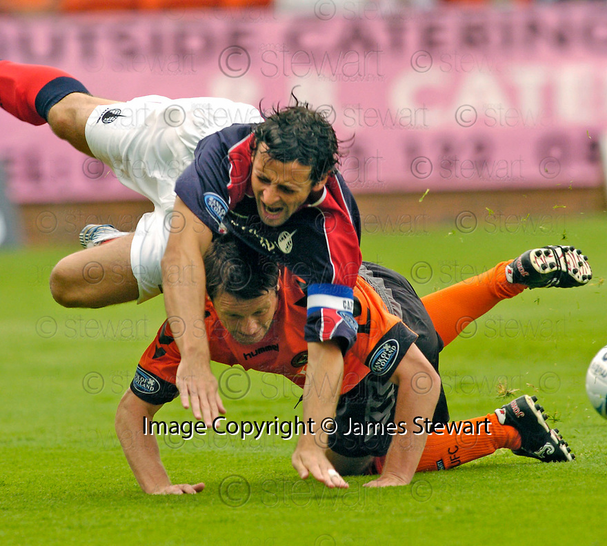 30/07/2006        Copyright Pic: James Stewart.File Name : sct_jspa16_falkirk_v_dundee_utd.FALKIRK'S JACK ROSS IS TAKEN OUT BY STEVEN ROBB...Payments to :.James Stewart Photo Agency 19 Carronlea Drive, Falkirk. FK2 8DN      Vat Reg No. 607 6932 25.Office     : +44 (0)1324 570906     .Mobile   : +44 (0)7721 416997.Fax         : +44 (0)1324 570906.E-mail  :  jim@jspa.co.uk.If you require further information then contact Jim Stewart on any of the numbers above.........