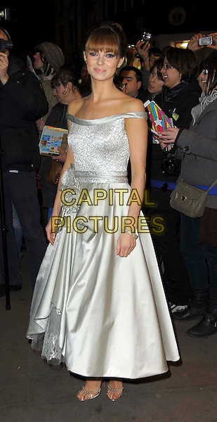 Kara Tointon.Whatsonstage.com Theatregoers Choice Awards at the Prince of Wales Theatre, London, England..February 19th 2012.full length white silver off the shoulder silk satin dress .CAP/CAS.©Bob Cass/Capital Pictures.
