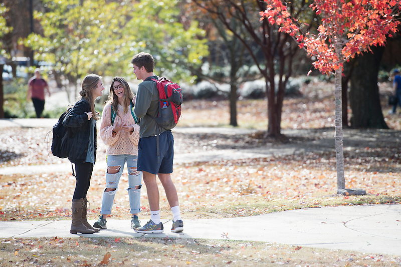 Fall leaves near Swalm: students talking.<br />   (photo by Megan Bean / &copy; Mississippi State University)
