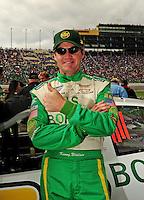 Oct. 3, 2009; Kansas City, KS, USA; NASCAR Nationwide Series driver Kenny Wallace during the Kansas Lottery 300 at Kansas Speedway. Mandatory Credit: Mark J. Rebilas-