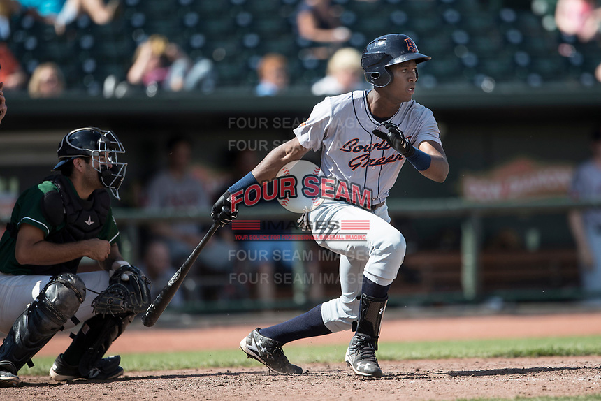Bowling Green Hot Rods outfielder Jesus Sanchez (7) follows through on his swing against the Great Lakes Loons during the Midwest League baseball game on June 4, 2017 at Dow Diamond in Midland, Michigan. Great Lakes defeated Bowling Green 11-0. (Andrew Woolley/Four Seam Images)