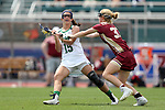 RICHMOND, VA - APRIL 27: Notre Dame's Cortney Fortunato (15) and Boston College's Hannah Hyatt (33). The Notre Dame Fighting Irish played the Boston College Eagles on April 27, 2017, at Sports Backers Stadium in Richmond, VA in an ACC Women's Lacrosse Tournament quarterfinal match. Boston College won the game 17-14.