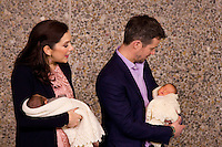 Crown Princess Mary, and Crown Prince Frederik of Denmark, leave the Rigshospitalet in Copenhagen with their new baby twins, a boy and a girl, born last Saturday morning..Crown Prince Frederik with baby girl, and Crown Princess Mary with Baby boy