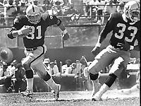 Oakland Raiders running backs Derrick Jensen and Kenny King (1981 photo/Ron Riesterer)