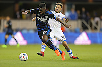 San Jose, CA - Saturday, March 04, 2017: Fatai Alashe, Hernán Bernardello prior to a Major League Soccer (MLS) match between the San Jose Earthquakes and the Montreal Impact at Avaya Stadium.
