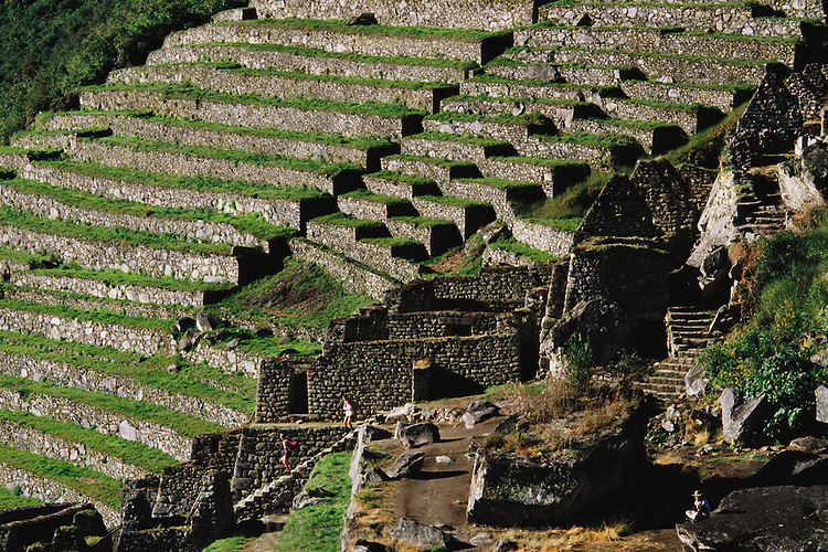Terraces at Inca ruins at Machu Picchu, Peru.