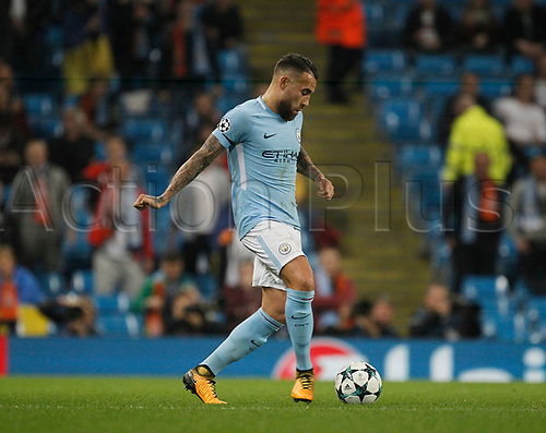 26th September 2017, Etihad Stadium, Manchester, England; UEFA Champions League football, Manchester City versus Shakhtar Donetsk; Nicolas Otamendi of Manchester City on the ball