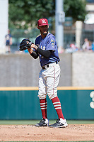 Frisco RoughRiders starting pitcher Jonathan Hernandez (19) during a Texas League game against the Springfield Cardinals on May 19, 2019 at Dr. Pepper Ballpark in Frisco, Texas.  Springfield defeated Frisco 9-2.  (Mike Augustin/Four Seam Images)