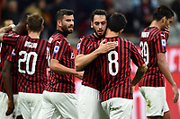 Hakan Calhanoglu of AC Milan celebrates with team mates after scoring the goal of 1-0 for his side <br /> Milano 20/10/2019 Stadio Giuseppe Meazza <br /> Football Serie A 2019/2020 <br /> AC Milan - Lecce <br /> Photo Image Sport / Insidefoto
