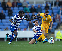Preston North End's Sean Maguire (right) battles with  Reading's Pele (left) and John Swift (centre)<br /> <br /> Photographer David Horton/CameraSport<br /> <br /> The EFL Sky Bet Championship - Reading v Preston North End - Saturday 19th October 2019 - Madejski Stadium - Reading<br /> <br /> World Copyright © 2019 CameraSport. All rights reserved. 43 Linden Ave. Countesthorpe. Leicester. England. LE8 5PG - Tel: +44 (0) 116 277 4147 - admin@camerasport.com - www.camerasport.com