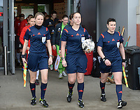 20140208 - OOSTAKKER , BELGIUM : Belgian referees Stephanie Forde (l) , Sharon Sluyts (m) and Ella De Vries (r) pictured during a friendly soccer match between the women teams of Belgium and Poland , Saturday 8 February 2014 in Oostakker. PHOTO DAVID CATRY