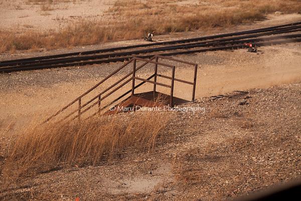 train tracks, iron stairs