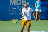 Washington, DC - August 4, 2019: Nick Kyrgios (AUS) hits a drop shot during the Citi Open ATP Singles final at William H.G. FitzGerald Tennis Center in Washington, DC  August 4, 2019.  (Photo by Elliott Brown/Media Images International)