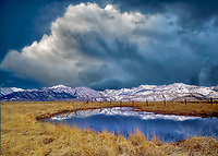 Reflecting pool of water and Eastern sierra Mountains. Near Bridgeport, California